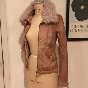 Zara Shearling Faux Leather Moto Jacket