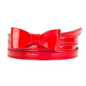 NEW- XL skinny red belt with bow- faux leather