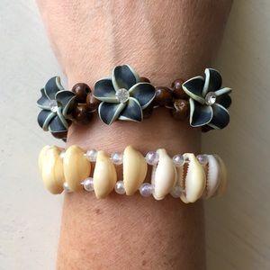 Seashell & Flower Wooden Beaded Stretch Bracelets
