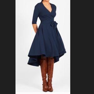 New EshaktI Navy Fit Flare Wrap Dress 18W