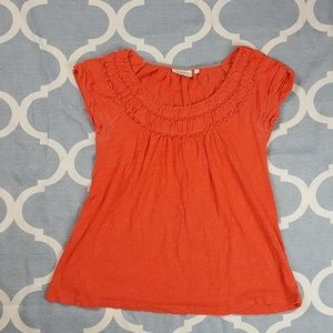 Deletta Anthropolgoie Blouse Cap Sleeve Orange Sma