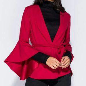 Waist Tie Flare Sleeve Blazer