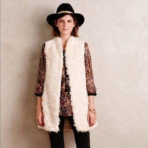 Anthropologie Hei Hei Embroidered Fur Vest