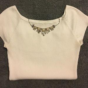 H&M Cream Short Sleeved Top