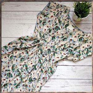 ANTHROPOLOGIE ODILLE Junebug Flutter silk dress, M