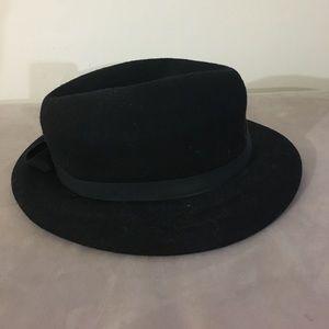 "Bollman 100% black wool felt winter hat 21"""