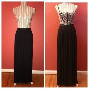 Double High Split Black Maxi Skirt