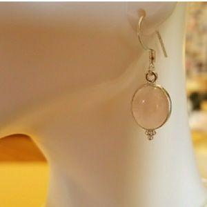"Genuine Pink Rose Quartz Earrings 1.25"""