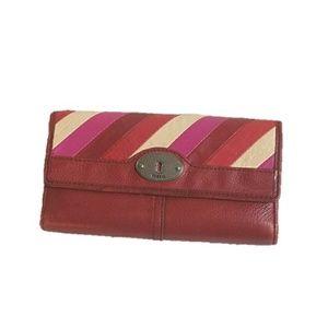 FOSSIL diagonal stripe keyhole check wallet