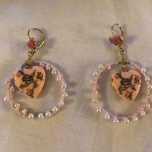 Vintage Betsey Johnson hoop heart locket Earrings