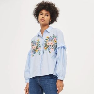 NWT Topshop embroidered blue top