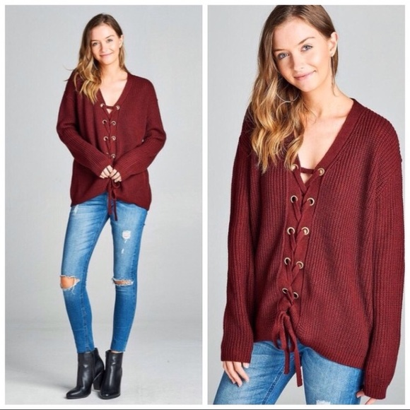 Burgundy Lace Up Grommet Sweater from Sally's closet on Poshmark