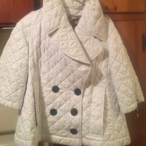 White Burberry Brit half sleeve peat coat small