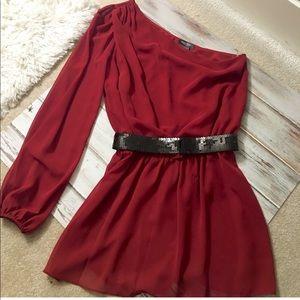 BISOU BISOU red one shoulder skirt flair shirt!❤️