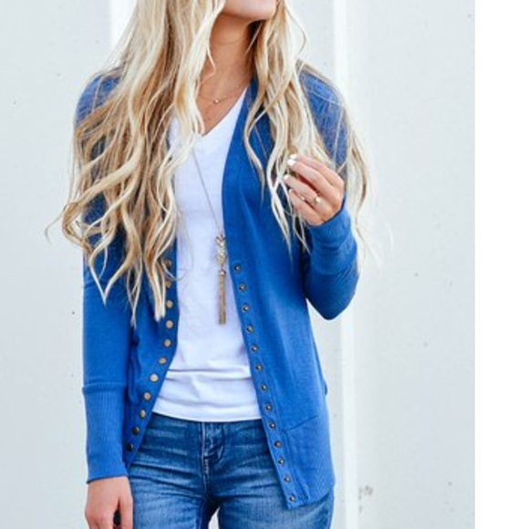 durable service great discount sale attractivefashion Zevana Outfitters Snap Front Cardigan Blue Medium