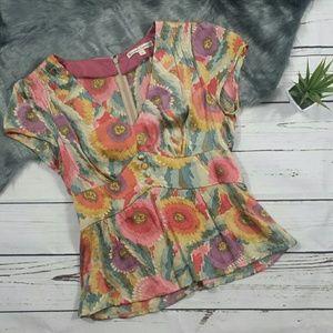 Nanette Lepore 100% Silk Floral Top