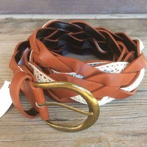 NEW Faux Leather & Crochet Braid Belt Faux Leather