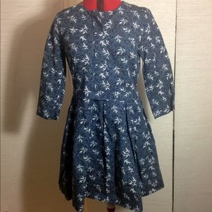 New gap blue pearl floral print dress