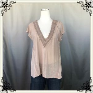 Kimchi Blue Tan and lace short sleeved Top #1095