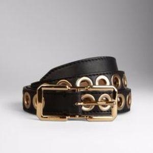 BURBERRY black Eyelet-embellished leather belt