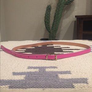 J. Crew Pink Skinny Patent Leather Belt