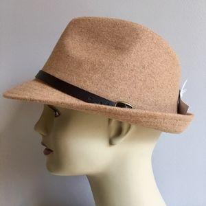 NEW Tan Felt Belted Fedora Hat Women's