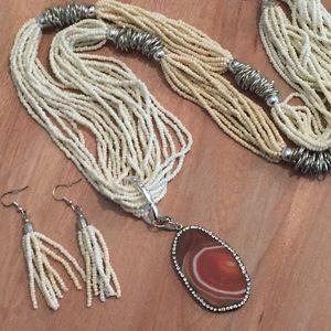 Beaded Agate Necklace & Earrings – Orange WE29700