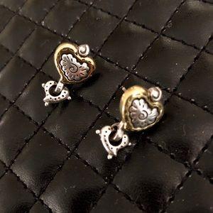 Brighton Gold & Silver Heart post earrings