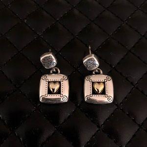 Brighton Gold & Silver Heart earrings