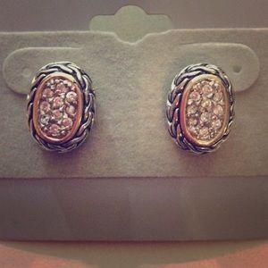 David Yurman style pave earrings