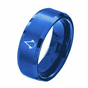 Blue Stainless Steel Titanium ring Size13