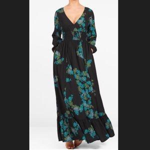 New Eshakti Floral Fi& Flare Maxi Dress L 12