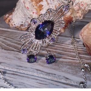 Rainbow Mystic Topaz Necklace & Earrings WRF-4363