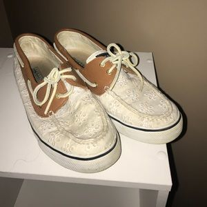 Sperry white eyelet lace boat shoes