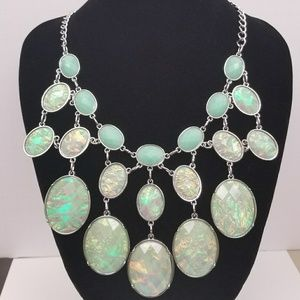 Mint/Silver Iridescent Oval Bib Statement Necklace