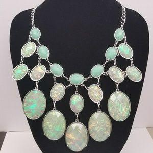 Mint/Silver Irridecent Oval Bib Statement Necklace