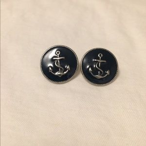 Navy & Silver Large Nautical Anchor Post Earrings