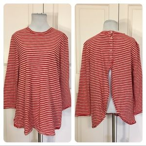 Free People red and white striped shirt
