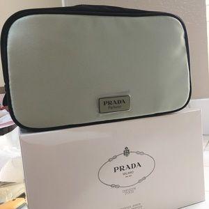 Prada green cosmetic make up bag