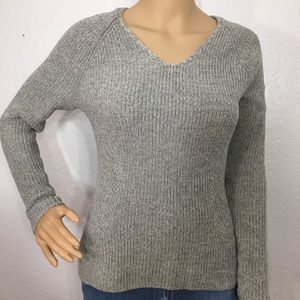 GAP Light Gray V Neck Fitted Sweater