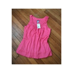 NWT Pink Blouse with Embellished Neckline