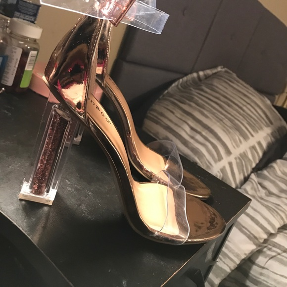 afaa26184a8 Clear Strap Rose Gold Heels