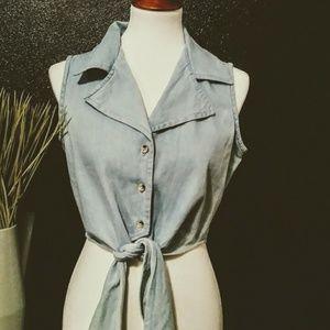 Vintage 90's Tie Waist Denim Crop Top