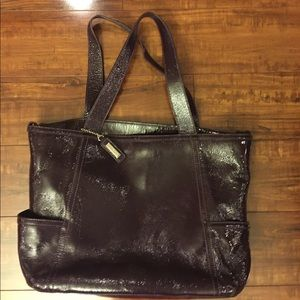Cole Haan Purple Patent Leather Computer Bag