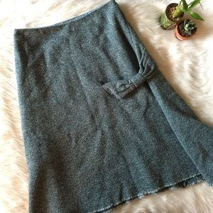 Elevenses Blue Tweed Midi Bow Skirt