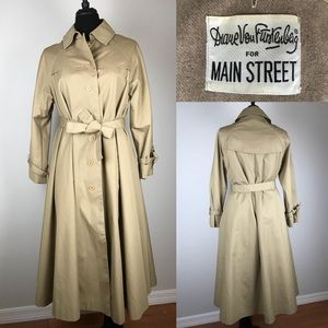 Diane Von Fuerstenburg Long Trench Coat Jacket XL