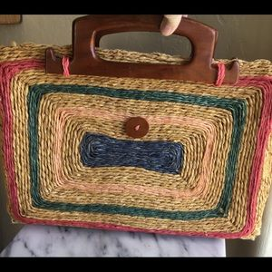 Woven Boho Bag with Wooden Handles