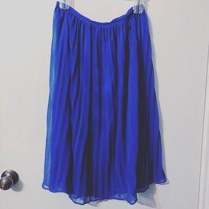 Forever 21 cobalt blue midi pleated skirt