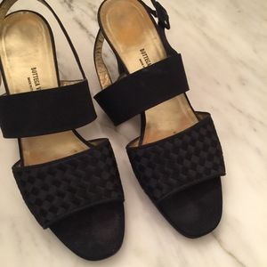 Bottega Veneta black wide strap sandals