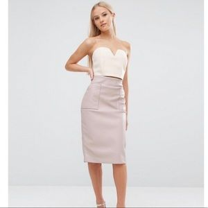 Asos Pink Blush faux leather skirt size 4